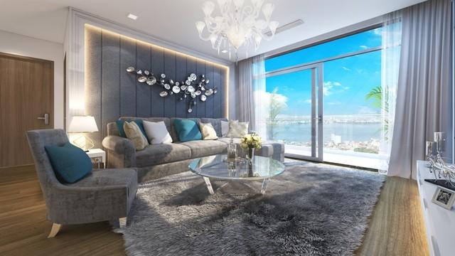 """Phòng khách sang trọng tại căn hộ """"chuẩn"""" năm sao dự án Vinhomes Metropolis."""
