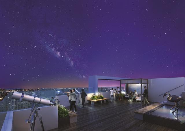 Đài vọng cảnh trên cao là điểm đến lý tưởng cho những ai yêu thích không gian yên tĩnh, lãng mạn của thành phố về đêm.