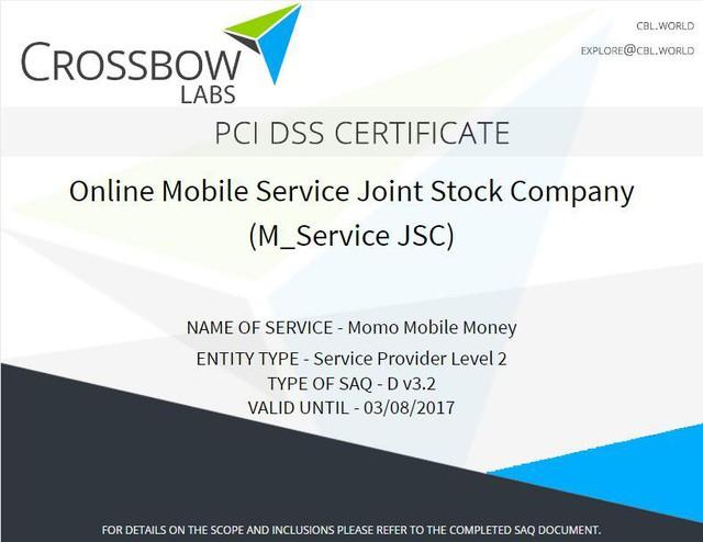 Chứng nhận Bảo mật quốc tế PCI DSS.