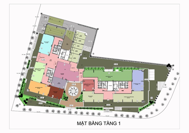 Mặt bằng trung tâm thương mại dự án Hateco Hoàng Mai.