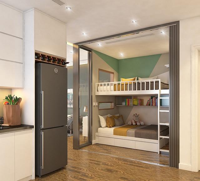 Căn hộ 2+1 của tại The TWO Residence được gia đình trẻ vô cùng ưa chuộng bởi thiết kế hài hòa, linh hoạt không gian sống.