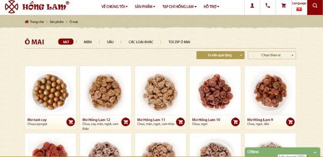 Website thương mại điện tử của Hồng Lam phục vụ mở rộng thị trường.