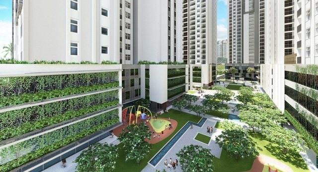 Bãi đỗ xe sinh thái trên tầng 2,3,4 của dự án HaDo Centrosa Garden.