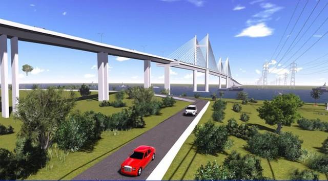 Cầu Cát Lái sẽ có dây văng tĩnh không 55m với tối thiểu 4 làn xe.