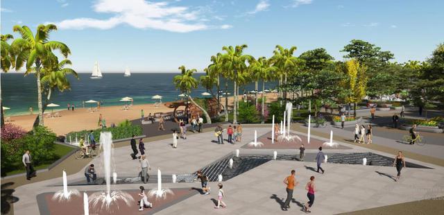 Khu quảng trường biển nằm phía trước dự án Waterfront mang lại một không gian xanh mát.
