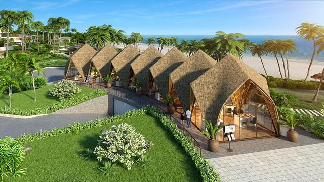 Khu vực nhà hàng bên bờ biển được thiết kế mang những nét đặc trưng của vật liệu địa phương.