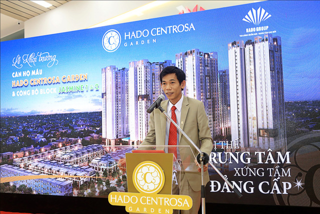 Ông Đinh Trọng Lễ - đại diện Chủ đầu tư phát biểu tại lễ khai trương căn hộ mẫu.