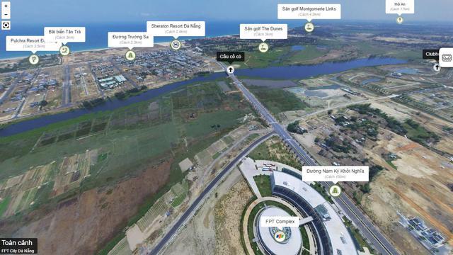 Sông Cổ Cò, biển Non Nước và hạ tầng giao thông nhìn từ FPT Complex. Nguồn: FPT City Đà Nẵng.