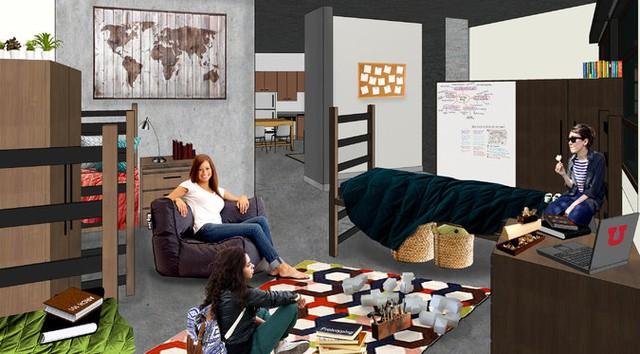 Không gian mở tại Lassonde Studios tại Đại học Utah được thiết kế để thúc đẩy sức sáng tạo tối đa cho sinh viên.