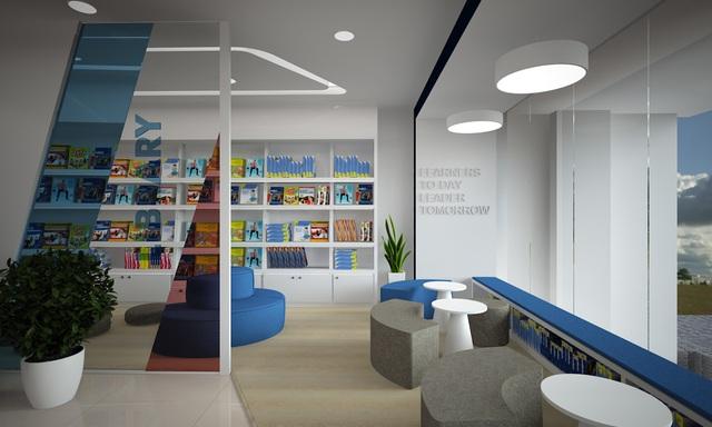 Khu vực thư viện tận dụng tối đa ánh sáng tự nhiên được bố trí linh động phù hợp cho nhu cầu tự nghiên cứu và cả làm việc nhóm.