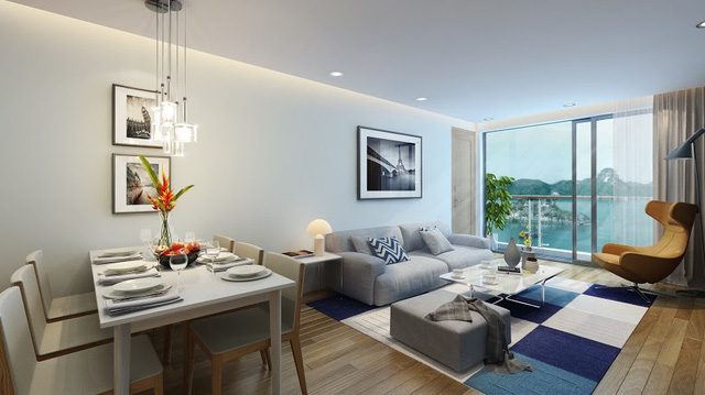 Các căn hộ đều được trang bị nội thất cao cấp và có tầm nhìn hướng vịnh Hạ Long.