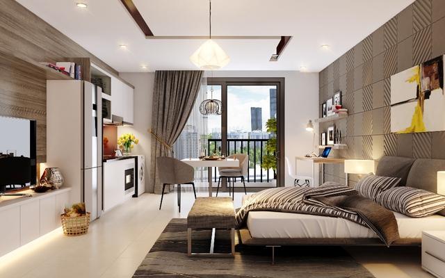 SOHO D'.Capitale có các loại 1, 1,5 đến 2 phòng ngủ diện tích từ trên 38m2 đến trên 60m2.