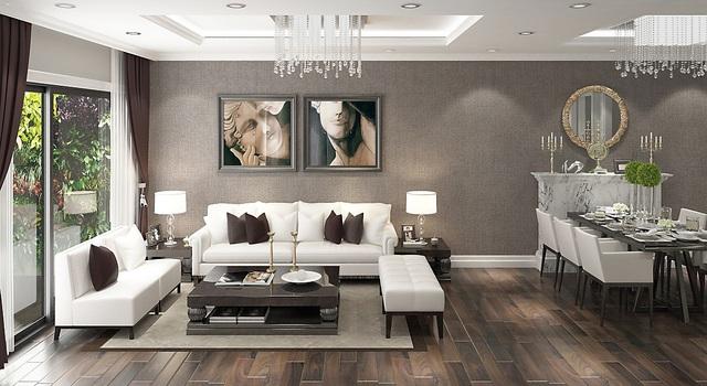 Phối cảnh căn hộ 125m2 với không gian sinh sống cao cấp, rộng lớn và tiện nghi.