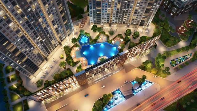 Xung quanh 6 tòa tháp căn hộ là hơn 40 tiện ích, cảnh quan được bố trí hợp lý như 3 cụm bể bơi ngoài trời, sân chơi trẻ em, khu thể thao, vườn BBQ, skybar…