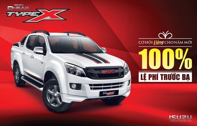 Bán tải Isuzu D-MAX đang được khuyến mãi đến 100% lệ phí trước bạ khi mua trong tháng 12.