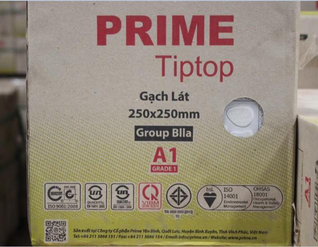 Bao bì sản phẩm gạch của hãng PRIME với thông tin cụ thể về sản phẩm và các chứng nhận về hệ thống quản lý và chất lượng.