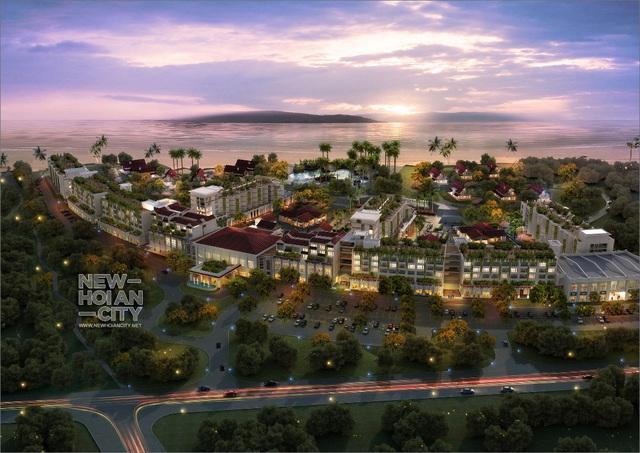 Dự án New Hoi An City tọa lạc ngay trên bãi biển An Bàng và phía trước mặt là đảo Cù Lao Chàm.