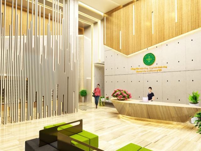 Tuy là căn hộ tầm trung nhưng từ ngoại quan đến nội thất dự án đều được chăm chút kỹ lưỡng đến từng chi tiết. Ảnh sảnh đón vào tòa nhà thiết kế như khách sạn hạng sang.