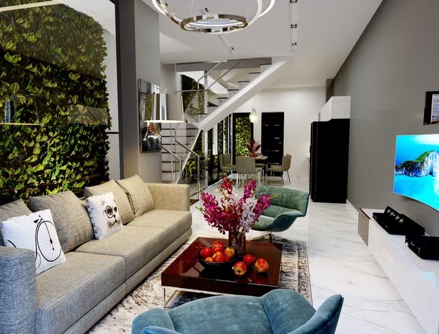 Kiến trúc ở Hoàng Phú Nha Trang tối giản, hiện đại và tận dụng các không gian xanh.