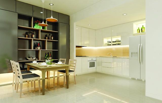 Bếp và phòng ăn thiết kế liên thông với phòng khách tạo cho căn hộ Saigon South Plaza một không gian thoáng mát.