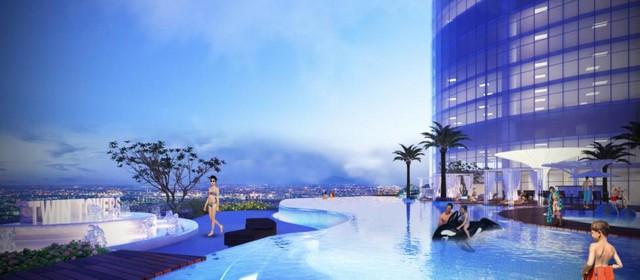 Bể bơi chân mây cách mặt đất 80m được thiết kế dành riêng cho cư dân FLC Twin Towers.