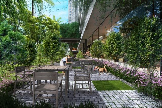 Được thiết kế mang hơi hướng sân vườn, không gian dự án nhìn từ trên cao như một khu công viên xanh với diện tích xây dựng chỉ chiếm 38,5%.