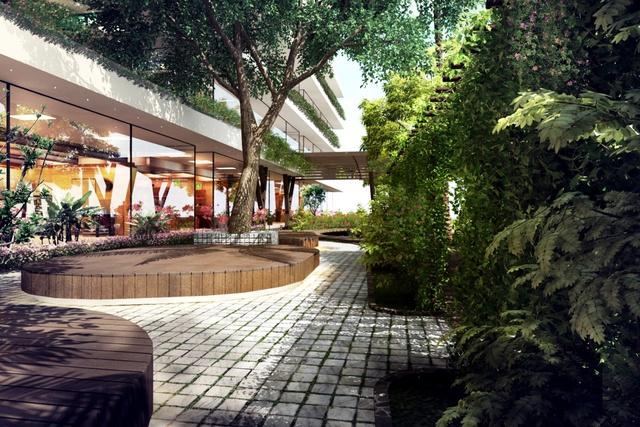 Hệ thống kính cao từ sàn đến trần giúp tạo không gian mở, thích hợp cho các thương hiệu lớn đầu tư các showroom ấn tượng tại Ecolife Capitol.