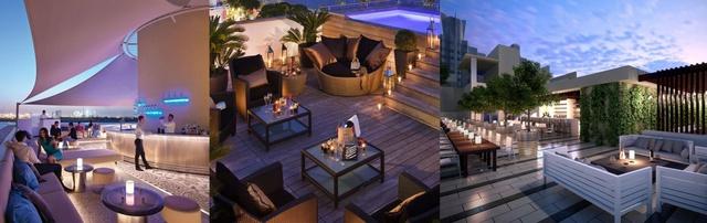 Trên tầng mái, sky-bar sẽ là nơi tập trung của những cư dân trẻ tuổi, mang lại cuộc sống sôi động và đấy sức sống cùng với tầm nhìn tuyệt đẹp.