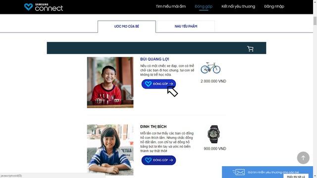 Với Samsung Connect, ai cũng có thể trở thành nhà hảo tâm chuyên nghiệp.