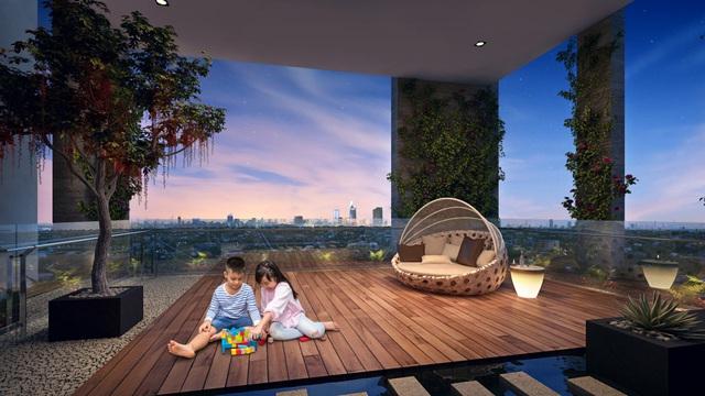 Các khu vườn treo trên không được đầu tư tỉ mỉ và sang trọng, mang lại không gian xanh từ trên cao cho 8 block căn hộcao cấp HaDo Centrosa Garden.