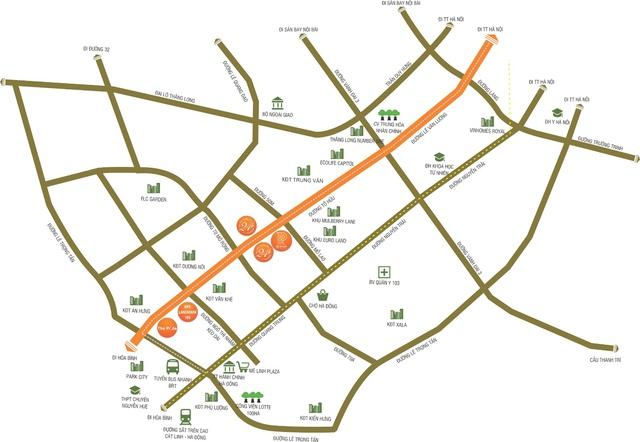 Bản đồ các tuyến đường quy hoạch kết nối với trục đường Tố Hữu.