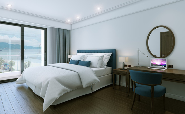 Phòng ngủ sang trọng đón ánh sáng tự nhiên.