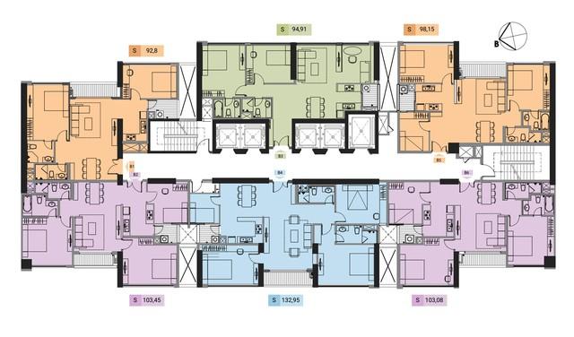 Mặt Bằng tháp B của dự án với 06 căn hộ/tầng và 05 thang máy.