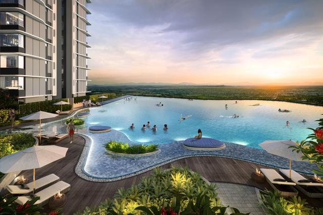 Bể bơi vô cực là một trong những trải nghiệm không thể bỏ lỡ khi an cư tại The ZEN Residence.