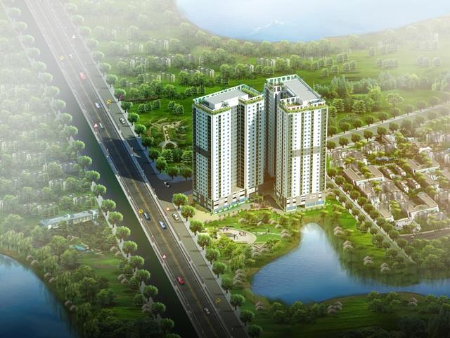 4 mặt view hồ tạo nên không gian sống trong lành thoáng đãng tại Hateco Hoàng Mai.
