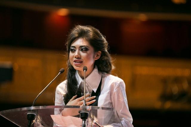 Coco Trần phát biểu tại chương trình và cam kết ủng hộ cho Quỹ Global Gift.