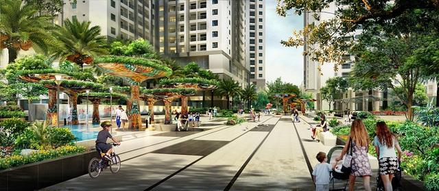 Diện tích cây xanh lớn mang lại không khí trong lành cho dự án