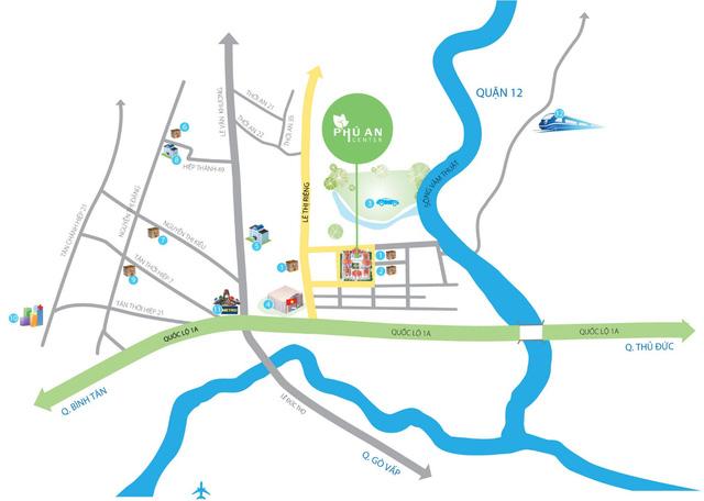 Chỉ cần 5 phút để di chuyển từ Phú An Center đến mọi tiện ích trong khu vực