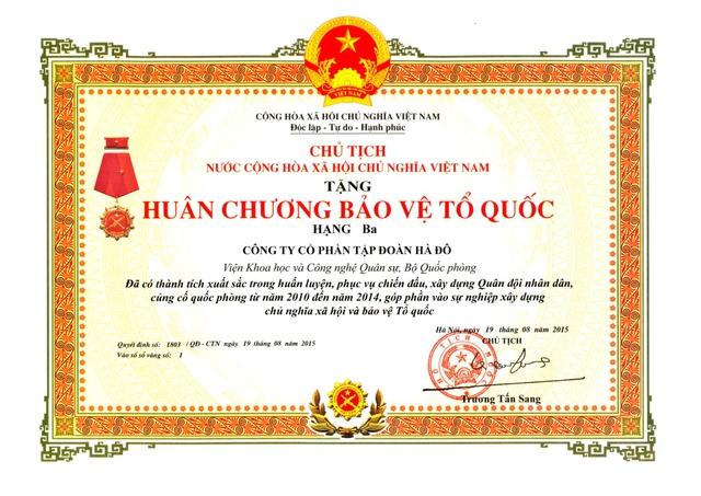Tập đoàn Hà Đô được Chủ tịch nước tặng Huân chương Bảo vệ Tổ quốc hạng Ba năm 2015