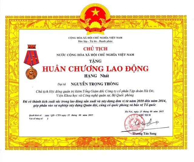 Ông Nguyễn Trọng Thông – Chủ tịch HĐQT kiêm Tổng Giám đốc Tập đoàn được Chủ tịch nước tặng Huân chương Lao động hạng Nhất năm 2015
