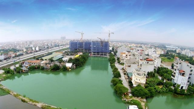 Hình ảnh thực tế Hateco nhìn từ hồ nước