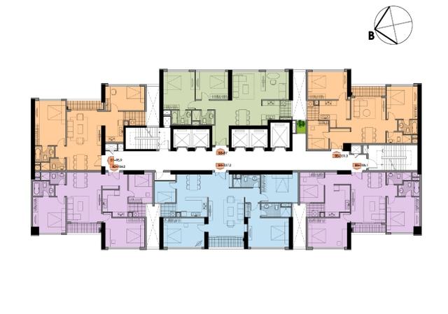 6 đến 8 căn hộ/tầng là tỷ lệ lý tưởng để bố trí các căn hộ một cách đẹp nhất