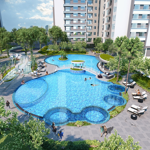 Bể bơi Sapphire – bể bơi Hoàng gia – với hệ thống sục hiện đại.