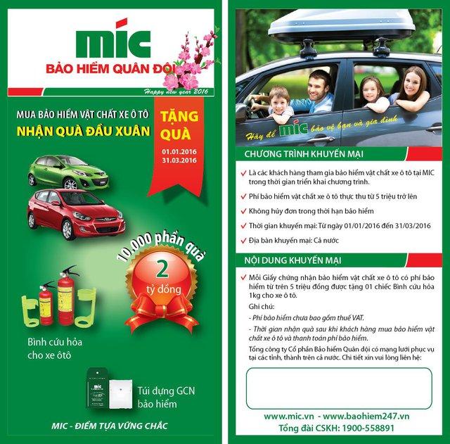 Chương trình KM của MIC Mua bảo hiểm vật chất xe ô tô - nhận quà đầu xuân
