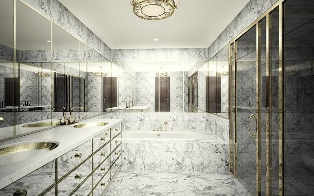 Phối cảnh thiết bị nhà tắm mạ vàng, ốp đá marble