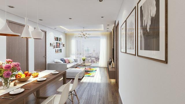 Thiết kế phòng ăn và phòng khách liên hoàn với không gian bên ngoài tạo sự thông thoáng tuyệt đối.