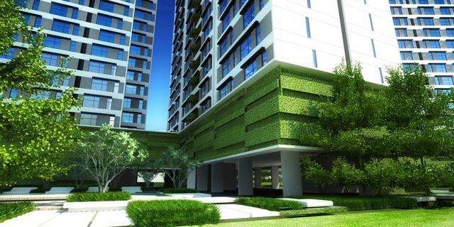 Tại Citihome Q2, tầng để xe được bố trí mảng xanh nhằm tạo sự tươi mát, hài hoàn và mỹ quan cho toàn khu