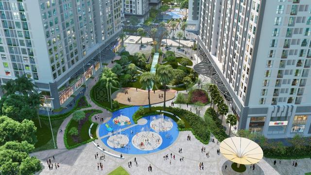 Quảng trường trung tâm Park Hill với đồi vọng cảnh, sân chơi phun nước, tháp đồng hồ