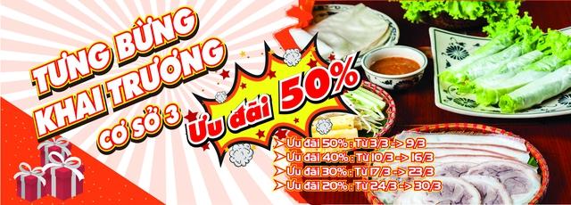 Ưu đãi 50% khai trương cơ sở mới tại bánh tráng cuốn thịt heo Phú Cường - Ảnh 1.